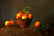 Nectarines and Terracotta Bowl. Dietrich Moravec