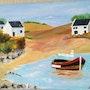 La Bretagne, un bateau nommé «Popi» dans un estuaire. Salsera