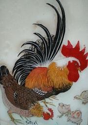 Peinture sous verre - coq et poule. Annie Saltel