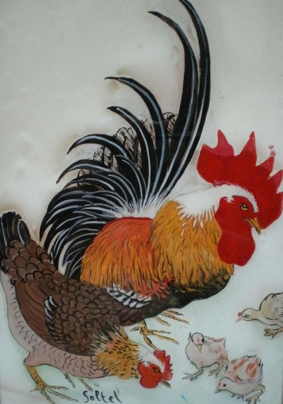 Peinture sous verre - coq et poule. Annie Saltel Annie Saltel