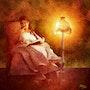 Dame mit Buch und Stehlampe. Juste