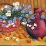 Cherries and flowers. Saule Abdramanova