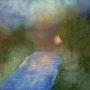 Fluss im Wald bei Mondschein. Juste