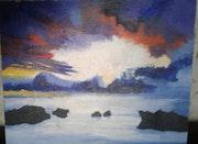 Cielo tormentoso en la costa. Susana Lidia López Zurdo