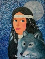 Peinture acrylique «Fée au loup».