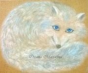 Peinture acrylique «Le renard polaire».