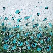 Turquoise poppy field. Cinzia Mancini