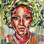 Portrait peinture acrylique. Db