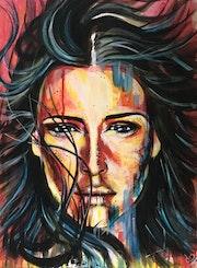 Peinture portrait acrylique.