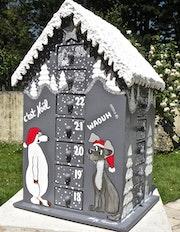Christmas*Noël*Calendrier de l'avent*Bois*Toit enneigé*Maison peint *deco*r/111.