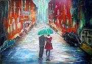 Couple au parapluie vert (3).