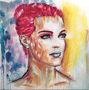 Portrait peinture acrylique.
