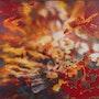 Triptyque «chi» - peinture réalisée sur mesure 120x120cm x3 partie centrale. Caroline Morcillo