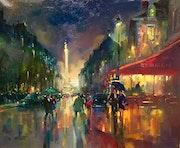 Paris. La Bastille la nuit.