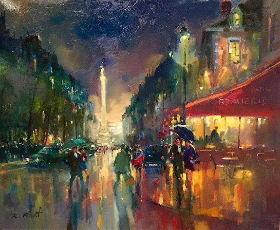Paris. La Bastille la nuit. Robert Ricart R Ricart