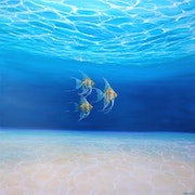 Magic Under the Sea - an underwater seascape with gold angel fish.