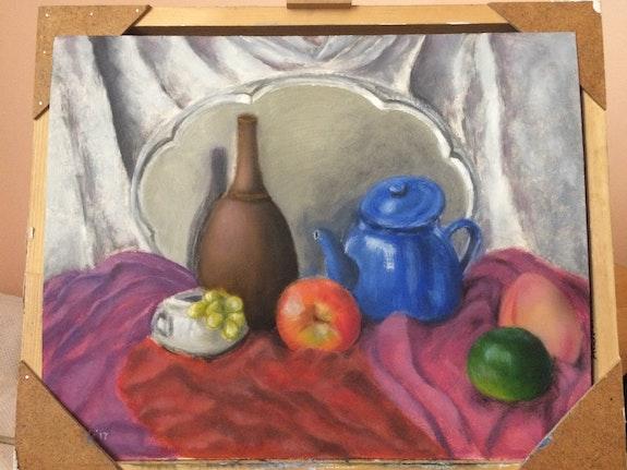 Still life with a bottle and a teapot. Saule Abdramanova Saule Abdramanova