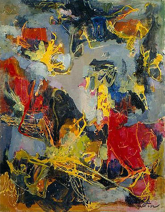 Albert Kotin, Predators, 1951. Oil and enamel on canvas, 36 X 28 inch #0049. Albert Kotin Marika Herskovic