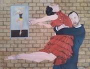 Peinture a l'huile sur toile intitulé l'entrainement. Prost's Art
