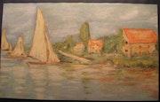 Monet Claude : étude pour les «Régates d'Argenteuil».. Historien d'art, Archéologue; Chercheur Free-L.