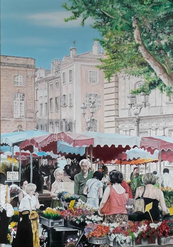 Le marché aux fleurs. Malaussane Jean Claude Jean Claude Malaussane