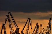 Port Cranes on Sunset.