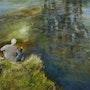 Le pêcheur sur le Furon. Daniele Trigalet