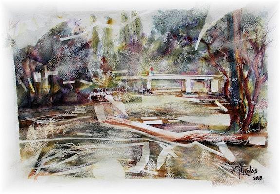 Rivière Elorn à Bodilis Aquarelle. Rémy Nicolas Rémy Nicolas