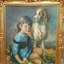 Niña con perro. Jose Rodriguez Bernal