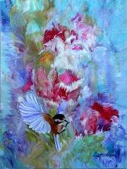 Vol parmi les fleurs.