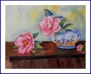 Aquarelle originale - Camélais roses.