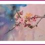 Aquarelle originale - Pommier du Japon. Viviane Farrugia