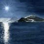 Lune sur le lac d'Annecy. Guy Jay