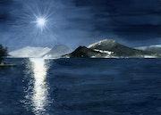 Lune sur le lac d'Annecy.