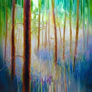 Bluebell Symphony - a very large oil painting of a Spring Woodland.