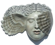 Hypnia (Sleep) wall hanging patinated foundry bronze sculpture. Ama Menec