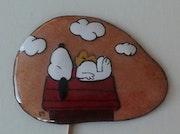 Snoopy sur sa niche. Martine Levillain