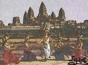 Le temple d'angkor wat avec les danseuses apsaras du cambodge.
