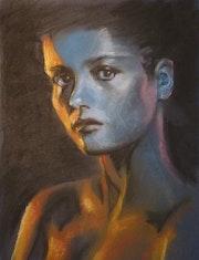 Portrait de femme ocre et bleu.