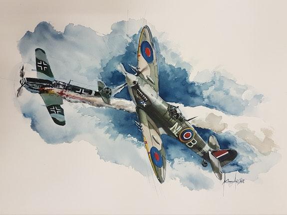Clostermann spitfire mark Ixc le gueulard vs me109 26 juillet 1943. François Baldinotti Forangeart F. Baldinotti Peintre De l'air
