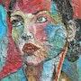 Catherine en rose et bleu. Nathalie Vareille Sorbac