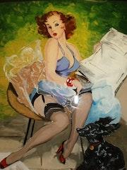 Peinture sous verre - Série «les pin-up de Gil Elvgren». Annie Saltel