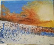 Une journée ensoleillée sous la neige à la campagne.