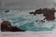 Les rochers de St Guénolé avec une mer plus agitée.
