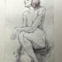Skizze sitzende Frau. Frank Hegemann