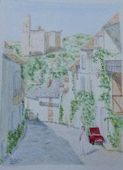 Aquarelle originale du village de Najac - signee du peintre - non encadrée.