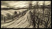 Paysage D'hiver au levée du soleil. Michel Corrand