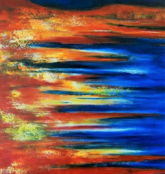 Abstrait orange et bleu. Michèle Truchot Mimi
