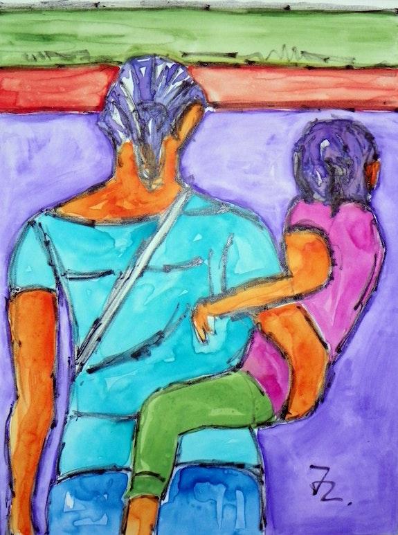 Aquarell auf Leinwand «Mutter mit Kind» 60 X 80 cm. Joerg Langhans Jörg Langhans