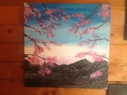 Paysage cerisiers.